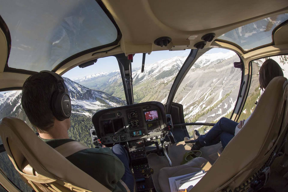 Aspen Heli Charter flies sightseers in the Eurocopter 130B4 with oversized windows that provide optimal panoramas. (Courtesy of Hal Williams)