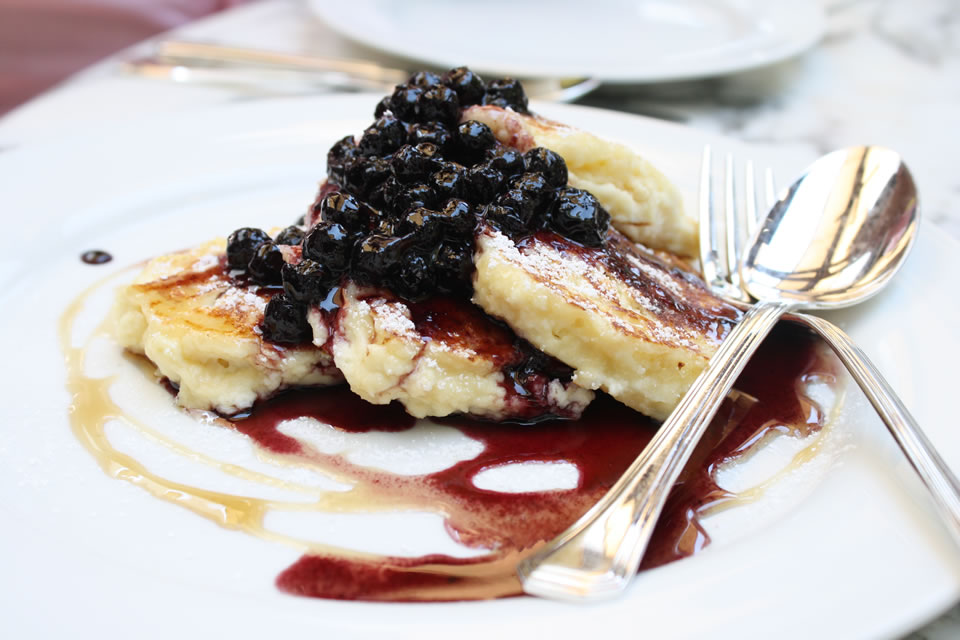Cecconi's Ricotta Hotcakes with Blueberry Compote