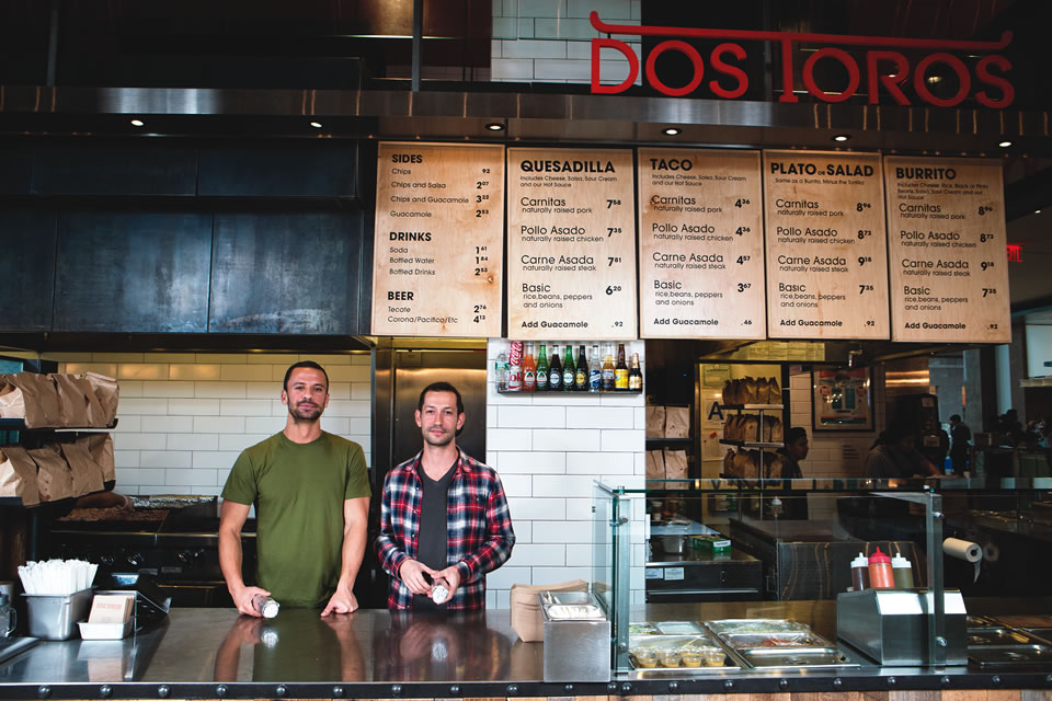 Hudson Eats' roster of restaurants includes taqueria Dos Toros. (Photo by Mark Abramson)