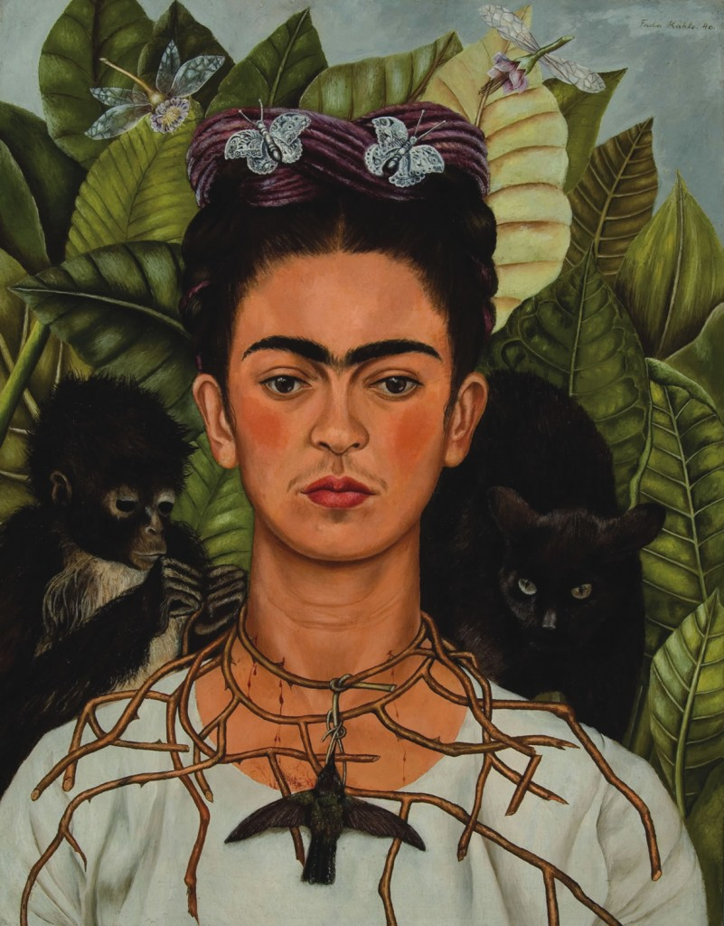 """""""Self-Portrait with Thorn Necklace and Hummingbird,"""" by Frida Kahlo (1940) (Courtesy of Harry Ransom Center, The University of Texas at Austin)"""