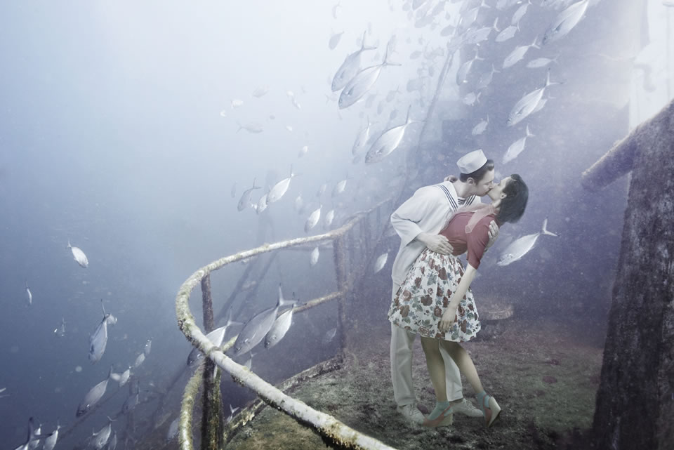 Andreas Franke superimposes scenes onto pictures of shipwrecks for a surreal viewing experience underwater.