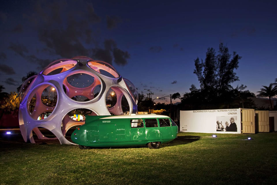 The Buckminster Fuller Institute's 24-foot Fly's Eye Dome was purchased for the Palm Court plaza. (Courtesy of Connie Zhou)