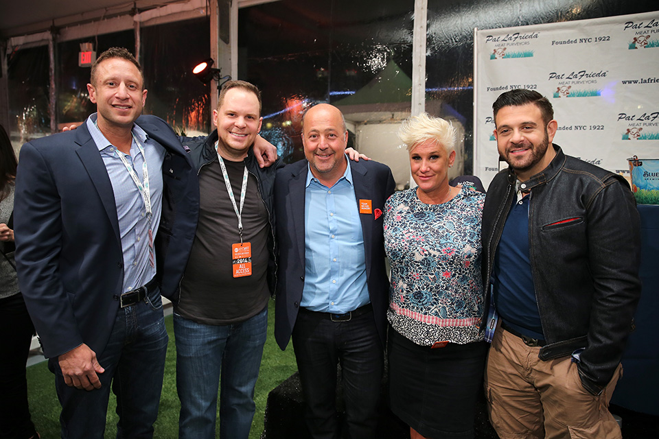 Left to right: Pat LaFrieda, Mark Pastore, Andrew Zimmern, Anne Burrell and Adam Richman at the 2014 festival
