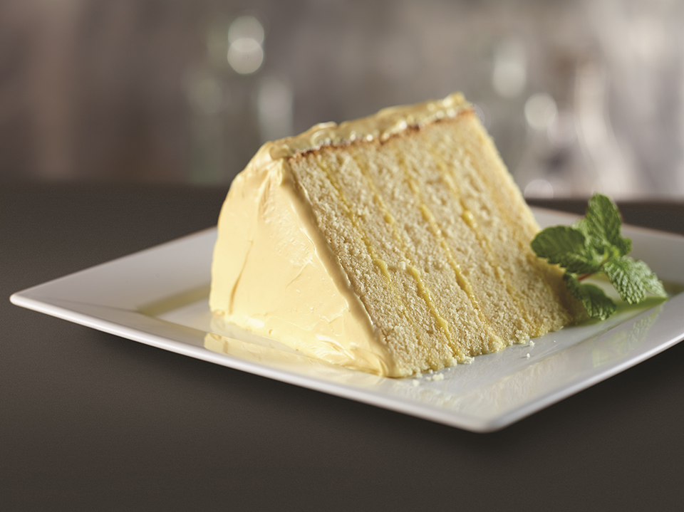 Six-layer lemon cake at Del Frisco's Double Eagle Steakhouse. (Courtesy of Del Frisco's Double Eagle Steakhouse)